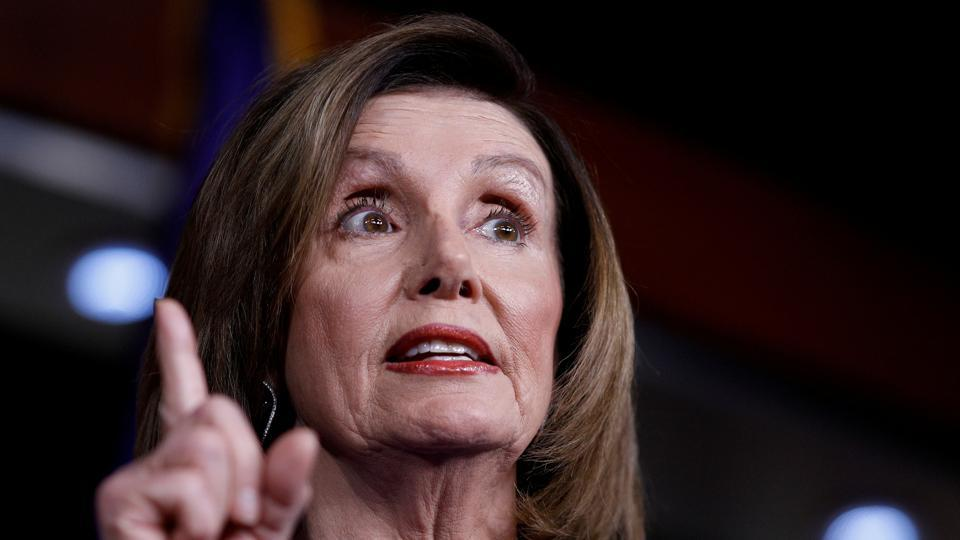 US Speaker of the House Nancy Pelosi speaks ahead of a House vote on a War Powers Resolution amid the stalemate surrounding the impeachment of US President Donald Trump.