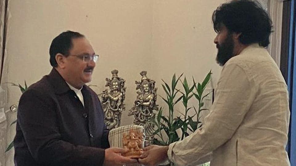 Jana Sena Party Chief Pawan Kalyan (right) met BJP working president JP Nadda in New Delhi on Monday.