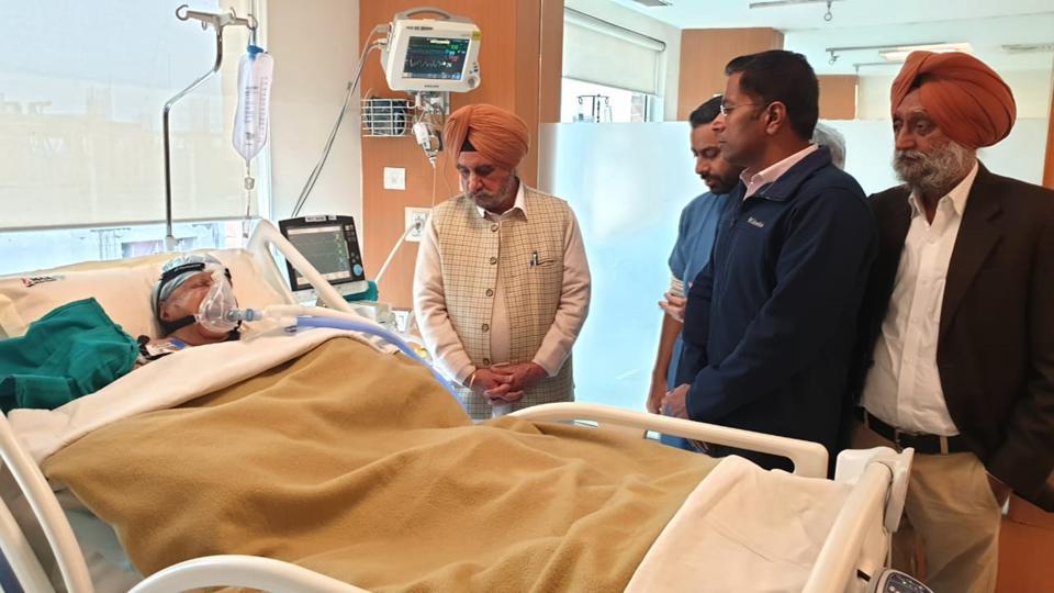 State cabinet minister Tript Rajinder Singh Bajwa visiting renowned Punjabi novelist Dalip Kaur Tiwana at a private hospital in Mohali on Thursday.