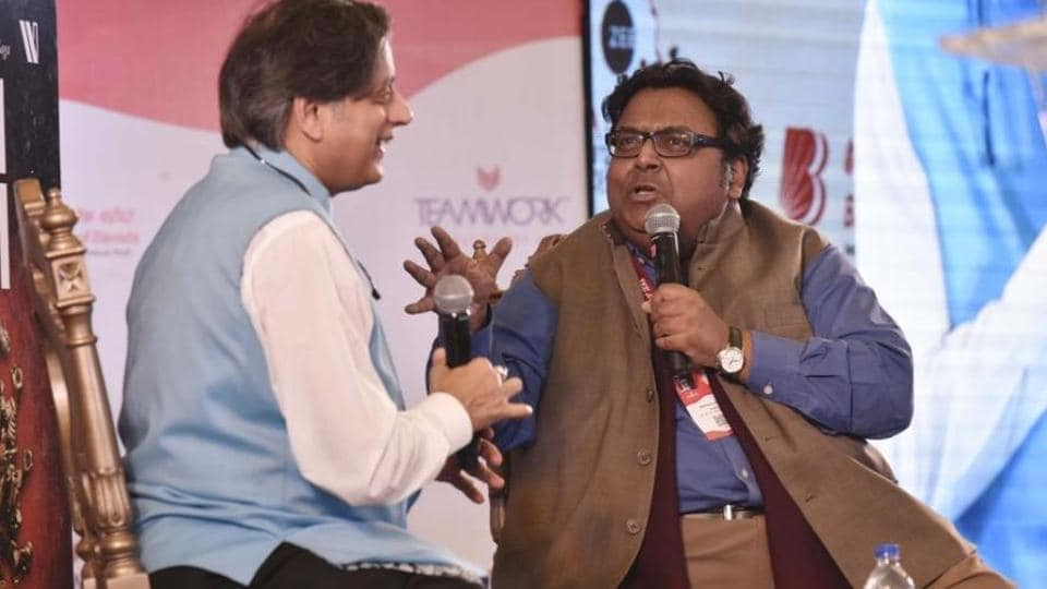 Ashwin Sanghi in conversation with Shashi Tharoor during the Jaipur Literature Festival 2018.