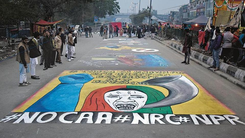 Graffiti made by demonstrators as part of their ongoing sit-in against Citizenship Amendment Act and the proposed National Register of Citizens at Shaheen Bagh, New Delhi on January 13.