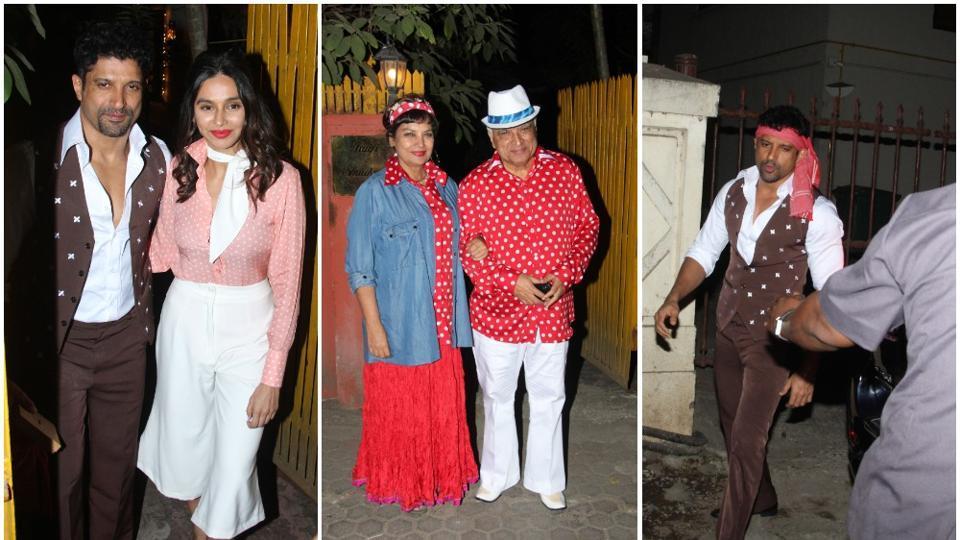 Farhan Akhtar, shibani Dandekar with Javed Akhtar and Shabana Azmi in Mumbai.