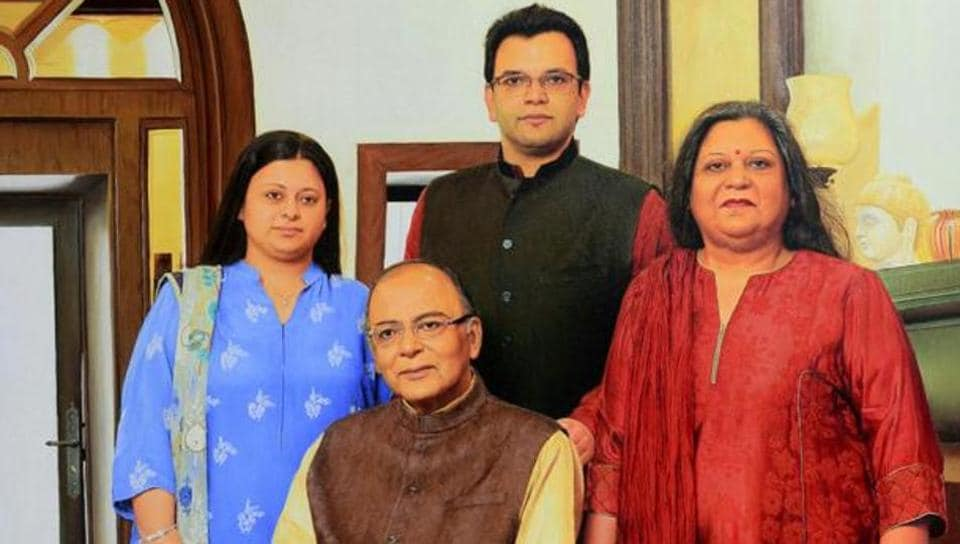 The late Arun Jaitley with his wife Sangeeta and children Rohan and Sonali.