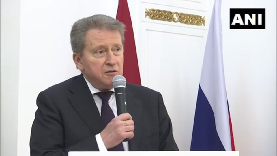 Russian Envoy to India, Nikolay Kudashev at 'Days of Moscow' event in Delhi in 2019.