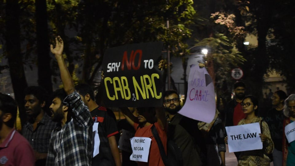 On Wednesday, despite the circular, over 1,000 students, faculty members and employees held a march on campus against CAA and proposed NRC.