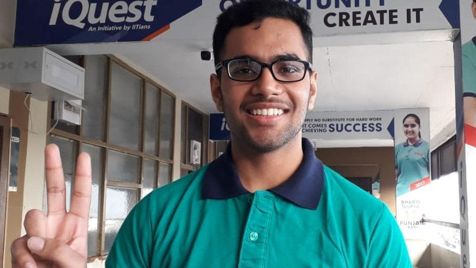 Ujjwal Mehta after he was declared the Punjab topper in the IITJEE Main exam, in Patiala on Saturday. He aims to pursue computer sciences at Indian Institute of Technology, Mumbai, and is now focused on doing well in the IITJEEAdvanced exam in April.