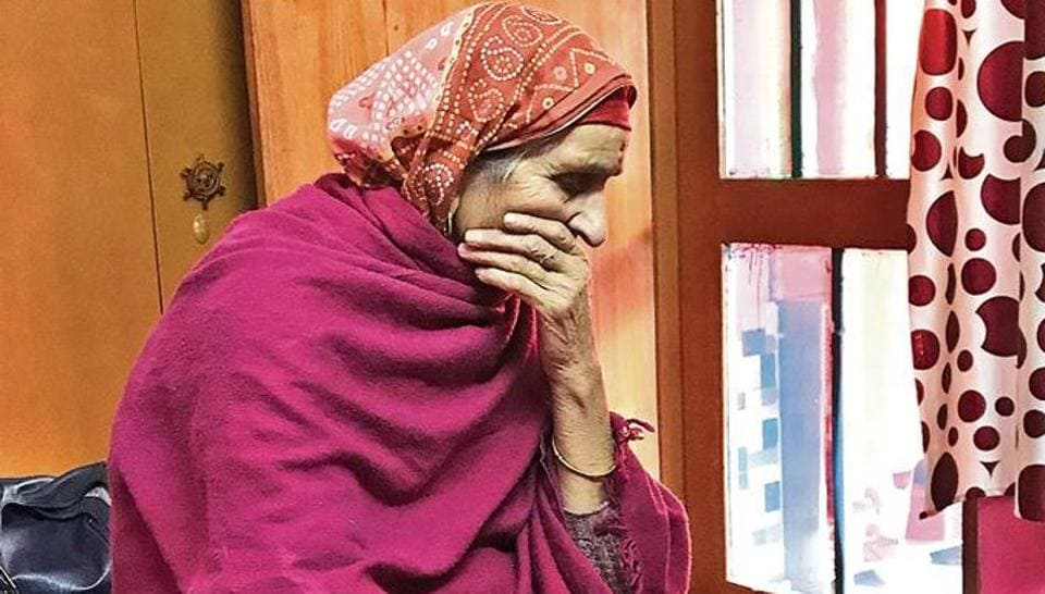 Oma, an octogenarian resident of Jagati, one of the five areas in Jammu where Kashmiri Pandits, who fled the Valley in the 90s, still live in camps.