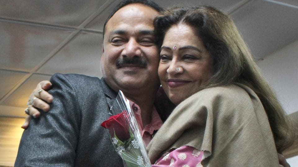 MP Kirron Kher greeting new Chandigarh BJP president Arun Sood at the party office on Friday.