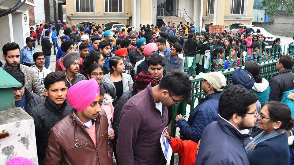 Students coming out from the examination hall after appear in JEE Main exam in Ludhiana on Wednesday, January 08, 2020.