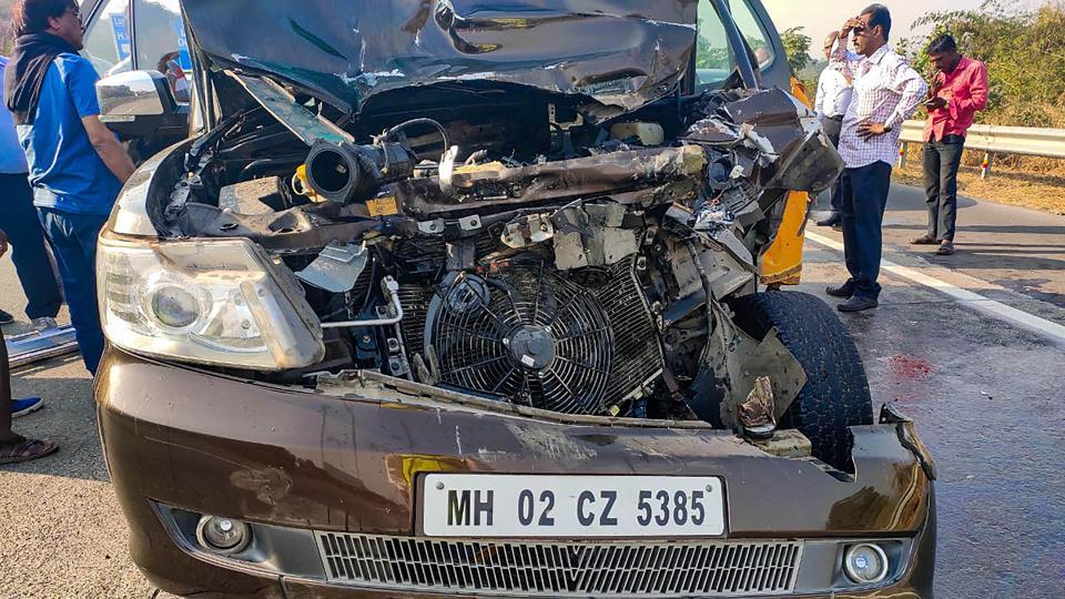 Mumbai: The damed car of veteran actress Shabana Azmi which collided with a truck in a accident on the Mumbai-Pune Expressway, near Mumbai