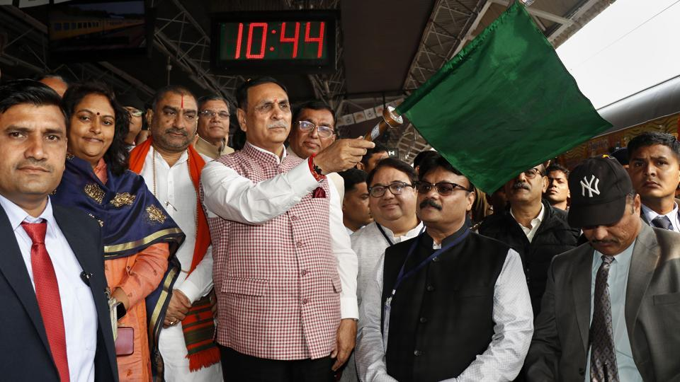 Gujarat chief minister Vijay Rupani flagged off the second premium Tejas train from Ahmedabad Railway Station in the presence of railway officials and a large number of people gathered at the station.  (PTI)