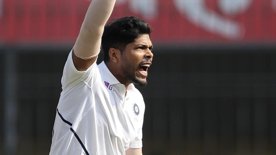 India's Umesh Yadav during the first test match between India and Bangladesh in Indore.