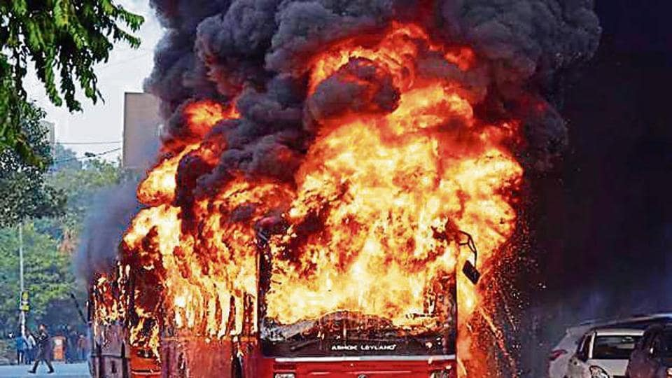 At least four buses were torched, 100 people injured and over 100 vehicles damaged on December 15.