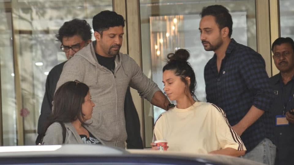 Farhan Akhtar, Zoya Akhtar and Shibani Dandekar at Kokilaben Dhirubhai Ambani Hospital onSunday.