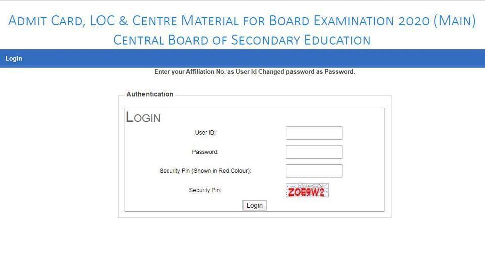 CBSE Class 10 and 12 board exam 2020 admit card. (Screengrab)