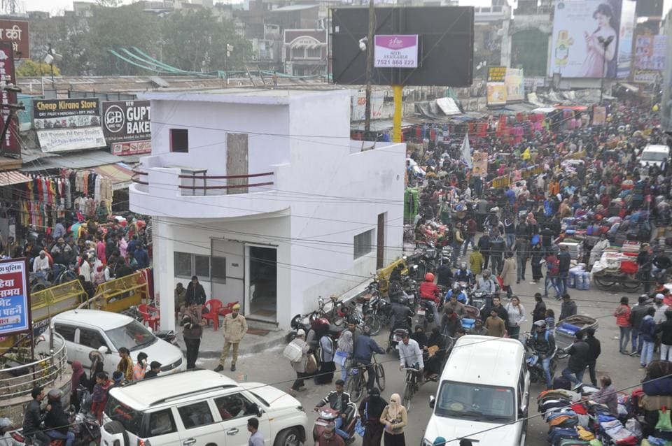 A two-storey pucca police post has been constructed right at the busy Aminabad crossing in Lucknow.