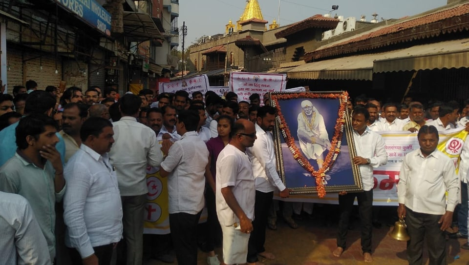 Local residents of Shirdi staging a protest during a bandh in the pilgrim town.