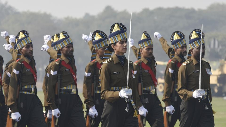 Captain Tania Shergill, the first female officer to lead as parade adjutant for the Republic Day parade, is seen during the 72nd Army Day Parade in New Delhi. (Vipin Kumar/HT Photo)