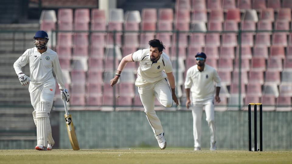 Delhi's bowler Ishant Sharma in action during the first day of their Ranji Trophy cricket match against Vidarbha.