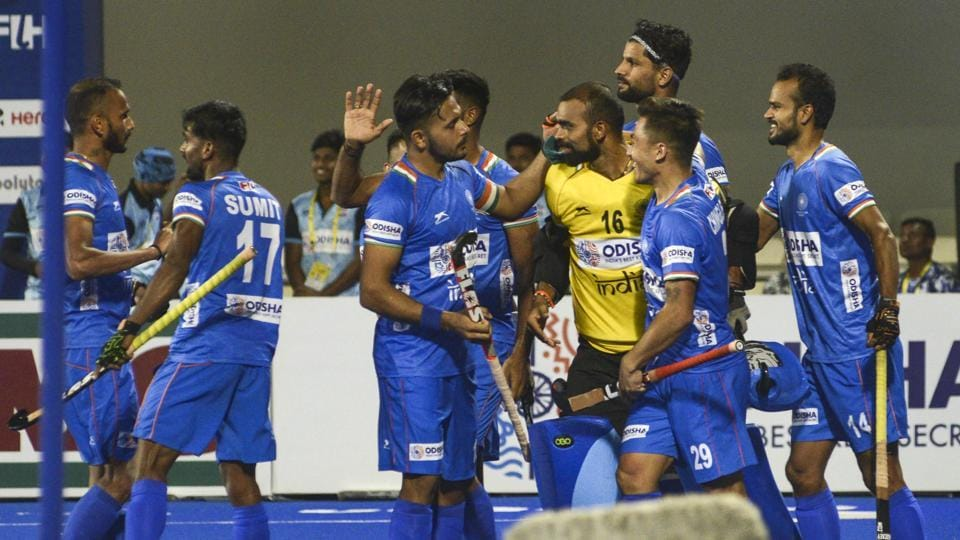 Indian players celebrate their win over Netherlands in the FIH Pro League.