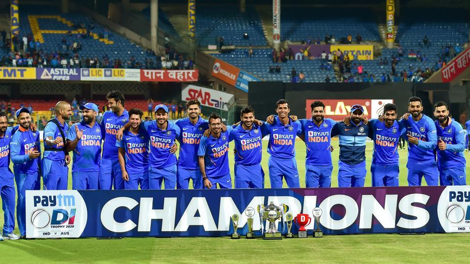 India cricketers pose with trophy. (PTI)