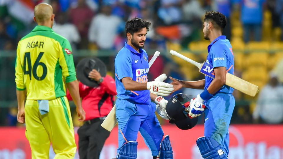 India's Shreyas Iyer and Manish Pandey greets each other after India won the third and final ODI.
