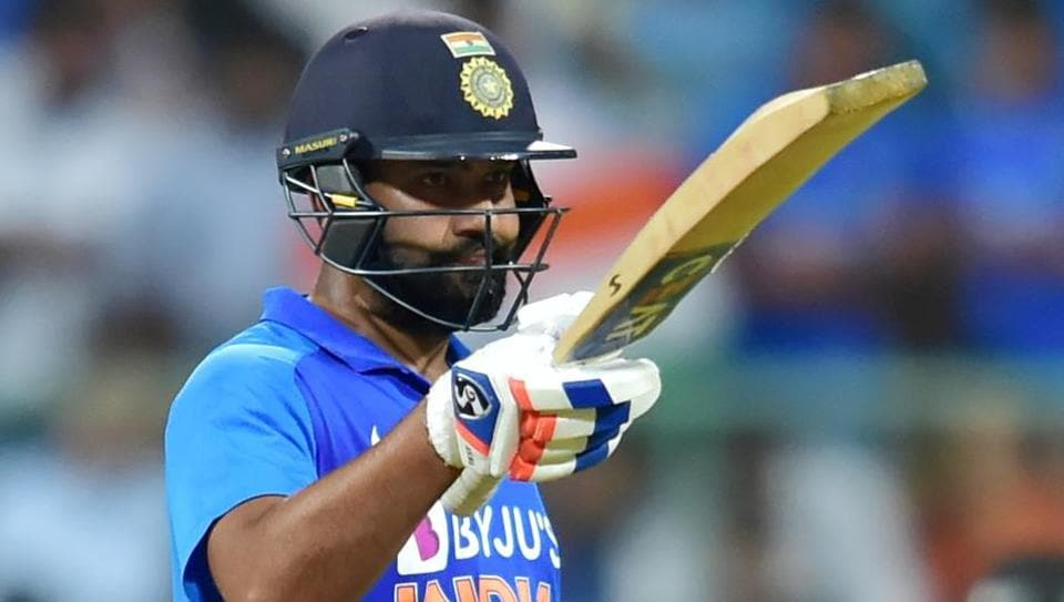 Rohit Sharma celebrates his century during the third and final ODI cricket match against Australia.