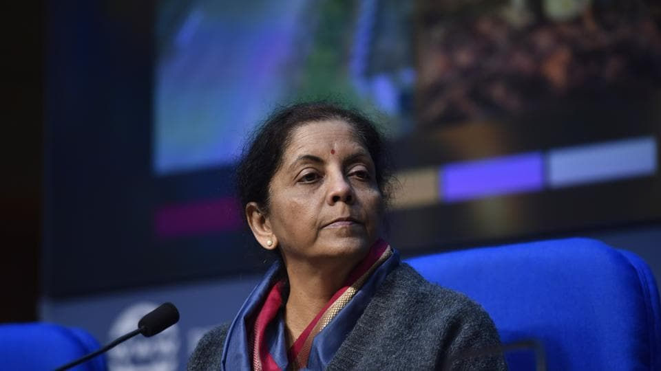 Union Finance Minister Nirmala Sitharaman during a press conference at National Media Centre in New Delhi.