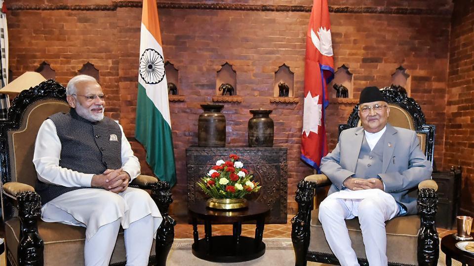 Prime Minister Narendra Modi and his Nepali counterpart KP Sharma Oli, Kathmandu, 2018
