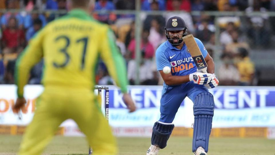 India's Rohit Sharma bats during the third one-day international cricket match between India and Australia in Bangalore.