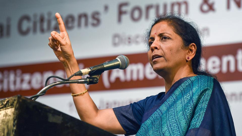 Finance Minister Nirmala Sitharaman addresses a gathering on the Citizenship Amendment Act, in Chennai on Sunday