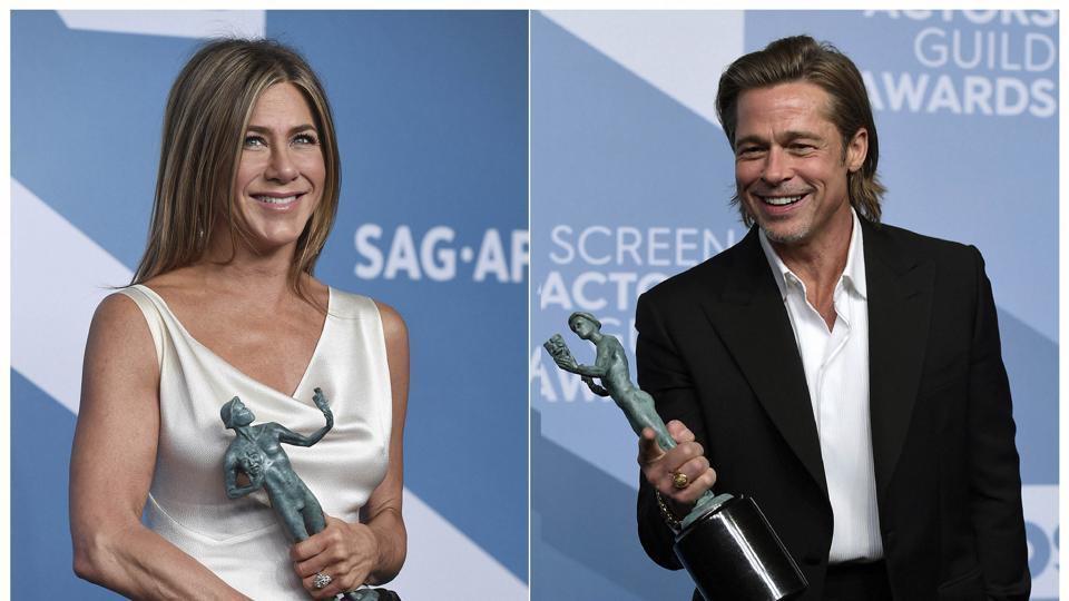 This combination photo shows Jennifer Aniston and Brad Pitt at the 26th annual Screen Actors Guild Awards.
