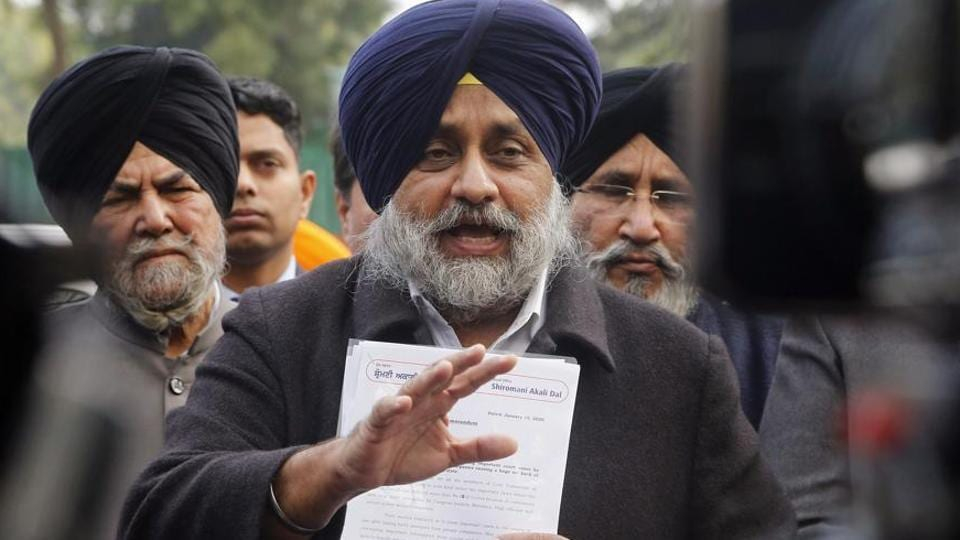 Sukhbir Singh Badal, president of Shiromani Akali Dal speaks to media outside the Punjab Governor house, in Chandigarh on January 15.