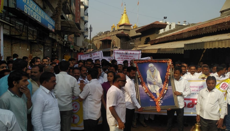The  Saibaba temple trust and locals in Shirdi observed a bandh  on Sunday in protest against the state government's reference to Pathri as the birthplace of Saibaba .
