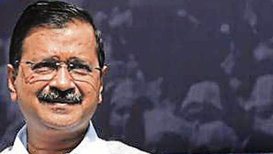 "Delhi CM Arvind Kejriwal launches the ""Kejriwal ka guarantee card"" at the AAP office in New Delhi."