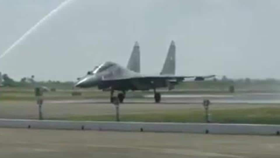 Water salute being given to the SU-30MKI fighter aircraft at the induction of the 222 'Tigersharks' fighter squadron at the Thanjavur air base.