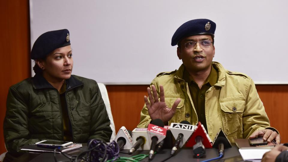 DCP Vrinda Shukla along with DCP Sankalp Sharma brief media about  the case in Noida, Sunday, January 19, 2020.