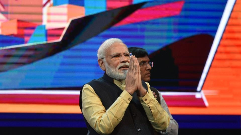 PM Modi seen at an event in Kolkata on January 12.