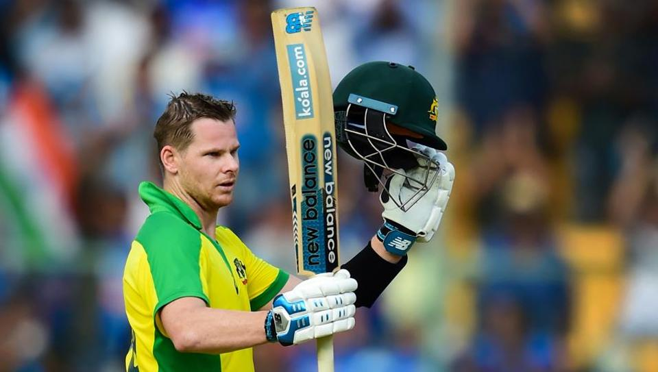 Australia's Steve Smith celebrates his hundred