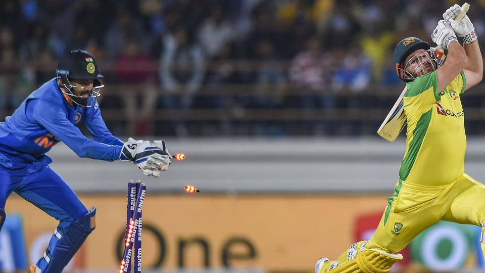 Australian batsman Aaron Finch being stumped by Indian wicket-keeper KL Rahul during the second one day international (ODI) cricket match between India and Australia at Saurashtra Cricket Association Stadium in Rajkot, Friday, Jan. 17, 2020.