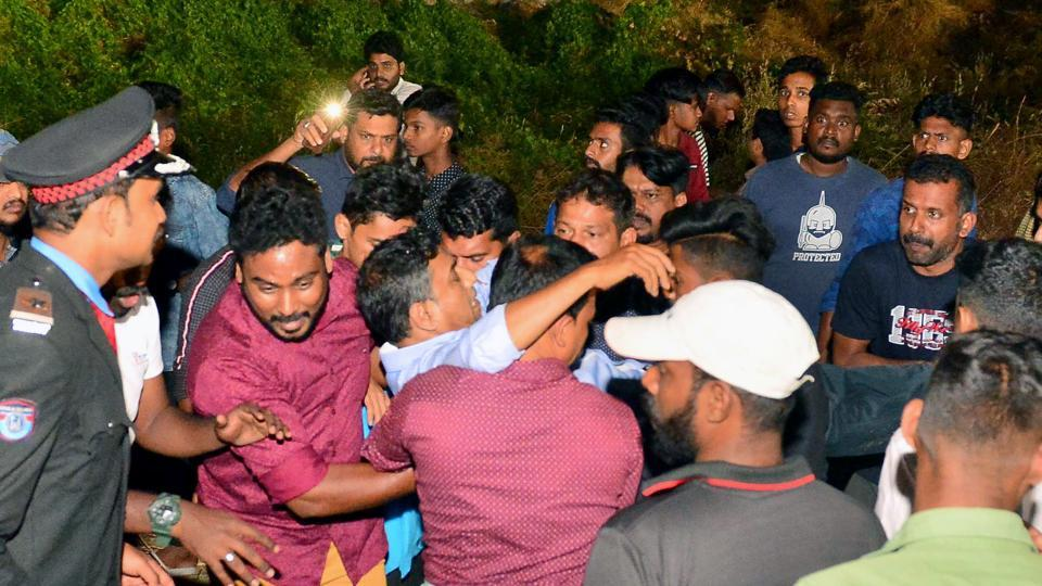 Kerala, Jan 19 (ANI): People rescuing an injured as a gallery of the stadium crashed and injured at least 20 people during a Charity Football Match in Palakkad on Sunday. (ANI Photo)