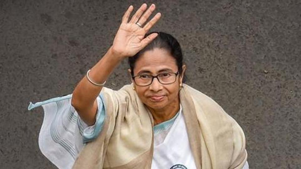 Kolkata: TMC Supremo and West Bengal Chief Minister Mamata Banerjee waves while leading a protest rally against the amended Citizenship Act and NRC, in Kolkata, Thursday, Dec. 26, 2019. (PTI Photo/Swapan Mahapatra) (PTI12_26_2019_000071A)