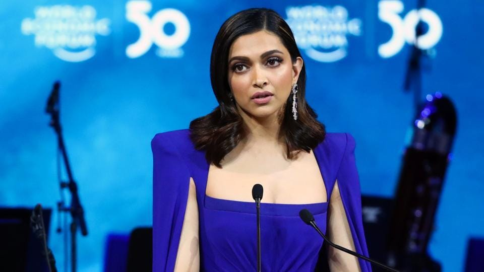 Indian actor Deepika Padukone accepts the Crystal Award during the opening of the 50th World Economic Forum (WEF) in Davos, Switzerland.