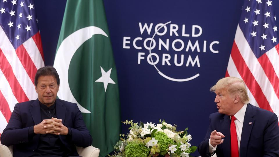 U.S. President Donald Trump gestures during a bilateral meeting with Pakistan's Prime Minister Imran Khan at the 50th World Economic Forum (WEF) annual meeting in Davos, Switzerland.