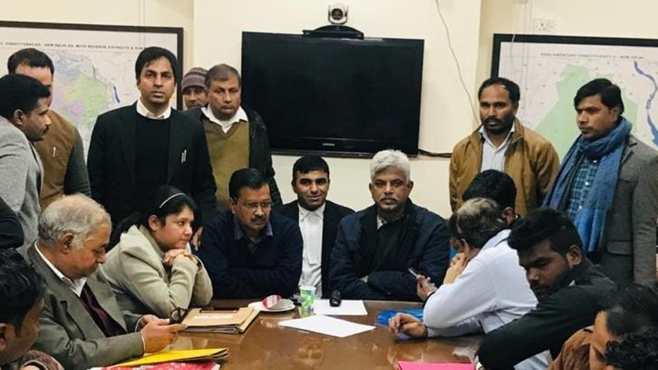 Delhi Chief Minister Arvind Kejriwal at the Returning Officer's chamber to file his nomination papers for Delhi polls.