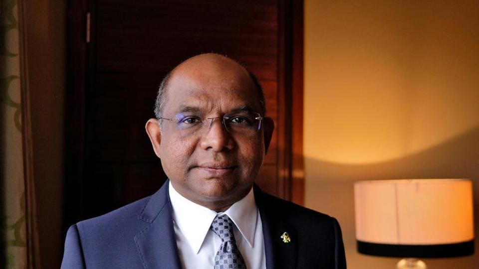 Abdulla Shahid while speaking to the press about Maldives' infrastructure and economic projects.