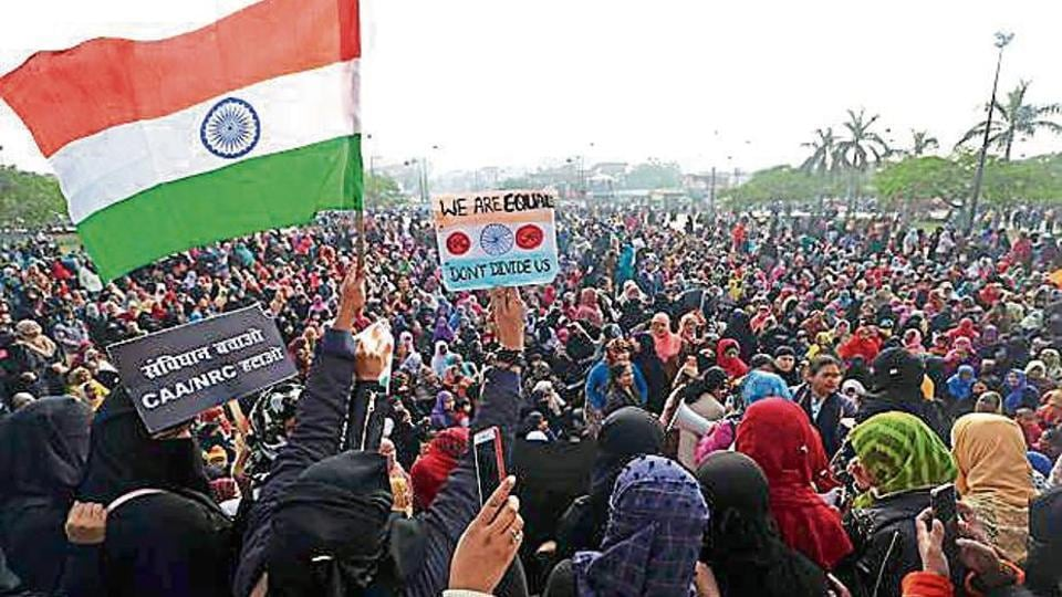 Women take part in anti-CAA protests at Clock Tower, in Chowk area of Lucknow.
