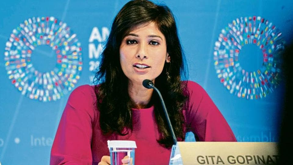 IMF chief economist Gita Gopinath said growth in India slowed sharply owing to stress in the non-banking financial sector and weak rural income growth.