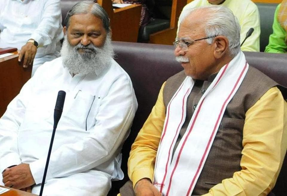 Haryana home minister Anil Vij with chief minister Manohar Lal Khattar in Chandigarh.