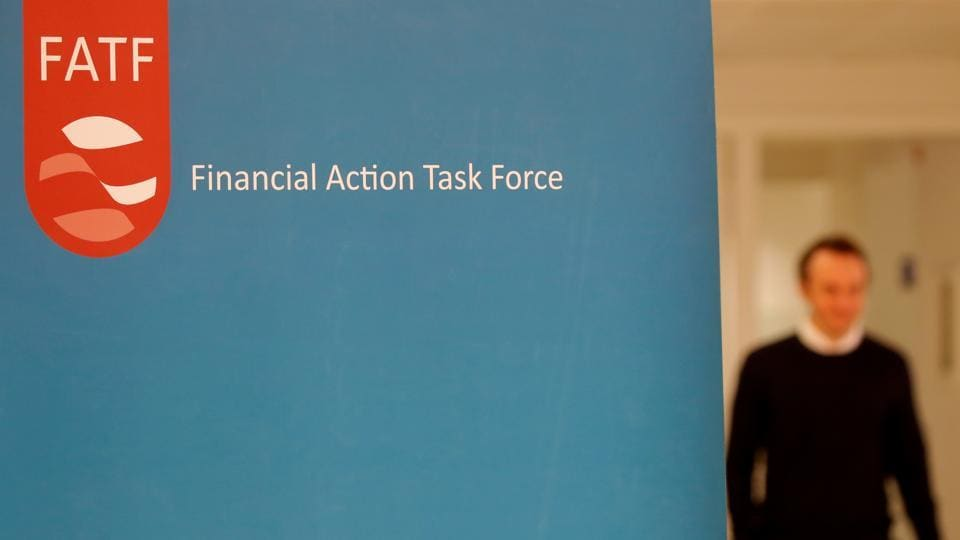 The logo of the Financial Action Task Force (FATF) is seen during a news conference after a plenary session at the OECD Headquarters in Paris, France.